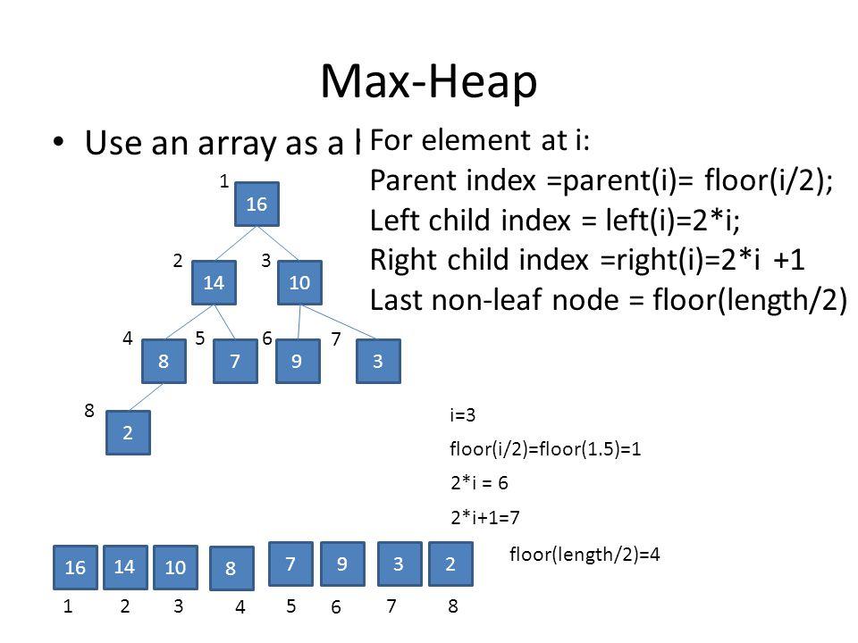 Max-Heap Use an array as a heap 16 1410 8793 2 123 4 5 6 78 16 14 10 8 7932 1 23 456 7 8 For element at i: Parent index =parent(i)= floor(i/2); Left child index = left(i)=2*i; Right child index =right(i)=2*i +1 Last non-leaf node = floor(length/2) i=3 2*i = 6 2*i+1=7 floor(i/2)=floor(1.5)=1 floor(length/2)=4