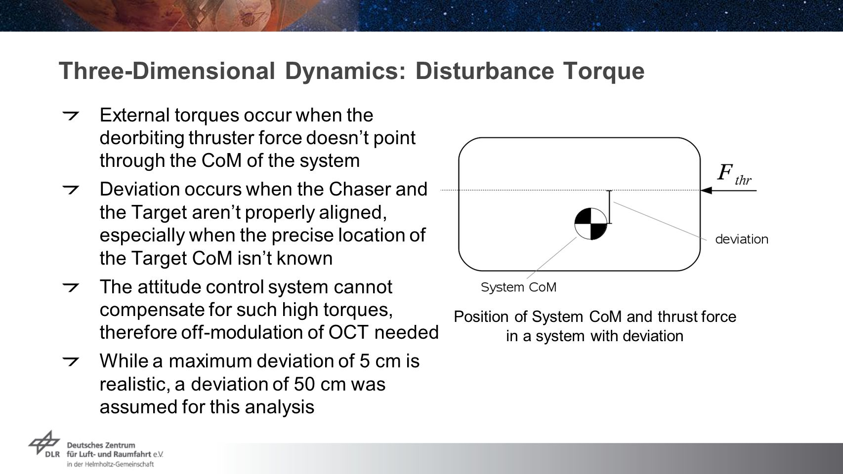 Three-Dimensional Dynamics: Disturbance Torque External torques occur when the deorbiting thruster force doesn't point through the CoM of the system Deviation occurs when the Chaser and the Target aren't properly aligned, especially when the precise location of the Target CoM isn't known The attitude control system cannot compensate for such high torques, therefore off-modulation of OCT needed While a maximum deviation of 5 cm is realistic, a deviation of 50 cm was assumed for this analysis Position of System CoM and thrust force in a system with deviation