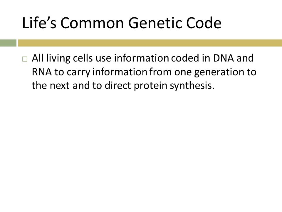 Life's Common Genetic Code  All living cells use information coded in DNA and RNA to carry information from one generation to the next and to direct