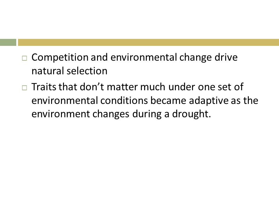  Competition and environmental change drive natural selection  Traits that don't matter much under one set of environmental conditions became adapti