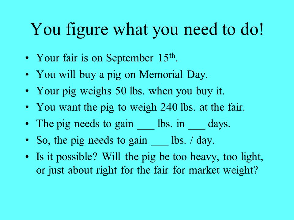 You figure what you need to do.Your fair is on September 15 th.