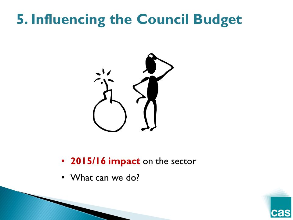 5. Influencing the Council Budget 2015/16 impact on the sector What can we do?