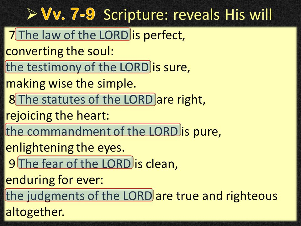 23 7 The law of the LORD is perfect, converting the soul: the testimony of the LORD is sure, making wise the simple.