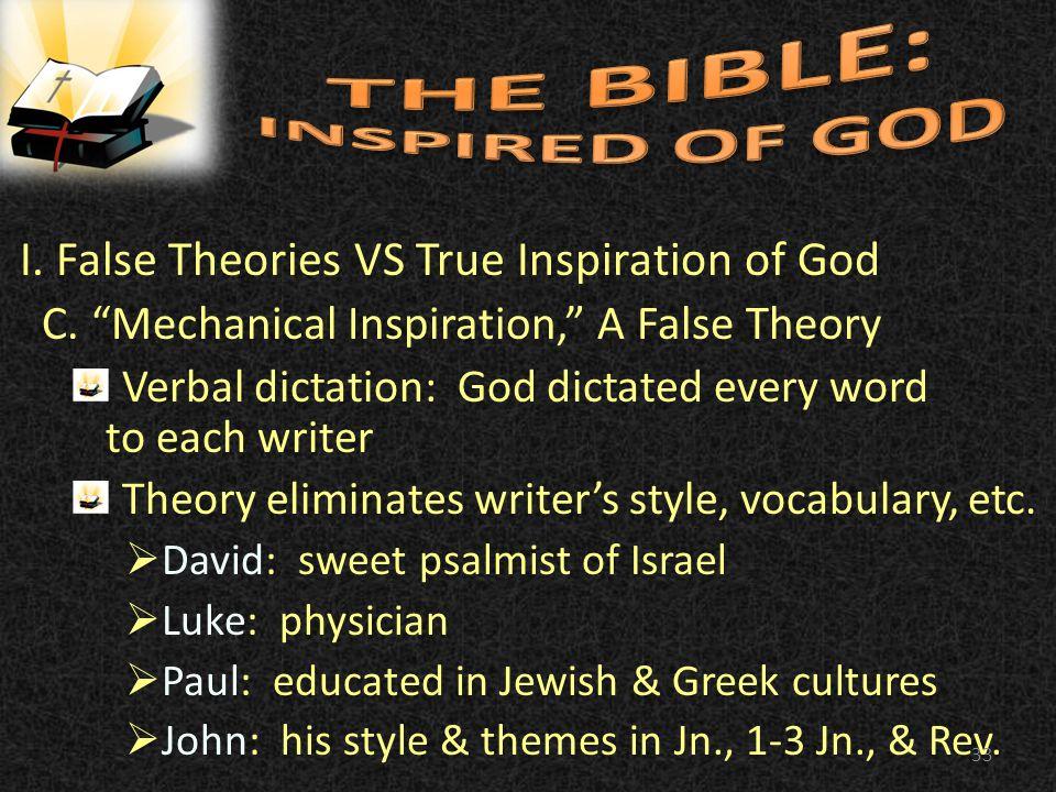 I. False Theories VS True Inspiration of God C.