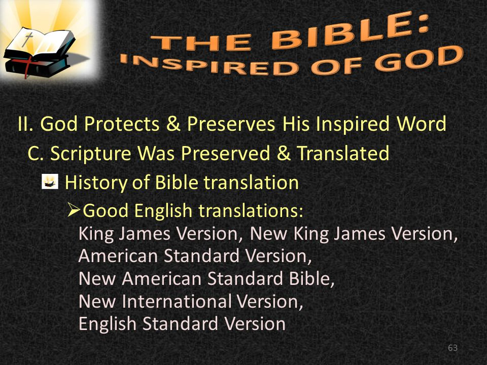 II. God Protects & Preserves His Inspired Word C.