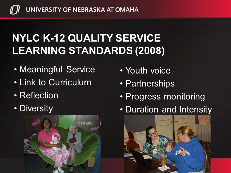NYLC K-12 QUALITY SERVICE LEARNING STANDARDS (2008) Youth voice Partnerships Progress monitoring Duration and Intensity Meaningful Service Link to Curriculum Reflection Diversity
