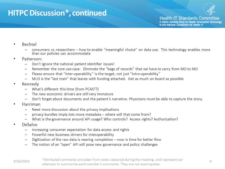 HITPC Discussion*, continued Bechtel – consumers vs.