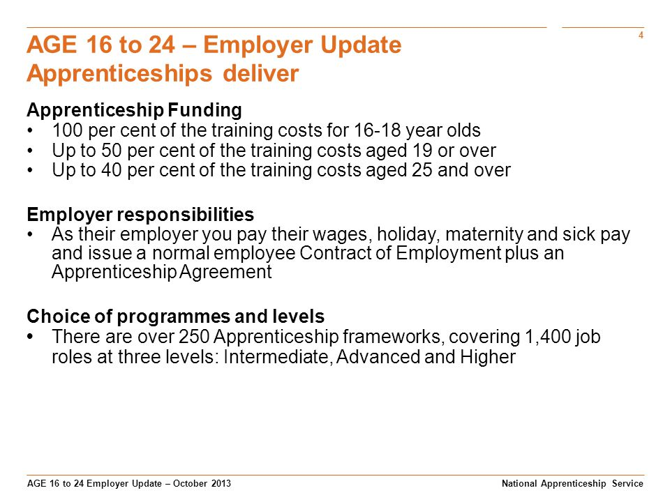 4 AGE 16 to 24 Employer Update – October 2013 AGE 16 to 24 – Employer Update Apprenticeships deliver National Apprenticeship Service Apprenticeship Funding 100 per cent of the training costs for 16-18 year olds Up to 50 per cent of the training costs aged 19 or over Up to 40 per cent of the training costs aged 25 and over Employer responsibilities As their employer you pay their wages, holiday, maternity and sick pay and issue a normal employee Contract of Employment plus an Apprenticeship Agreement Choice of programmes and levels There are over 250 Apprenticeship frameworks, covering 1,400 job roles at three levels: Intermediate, Advanced and Higher
