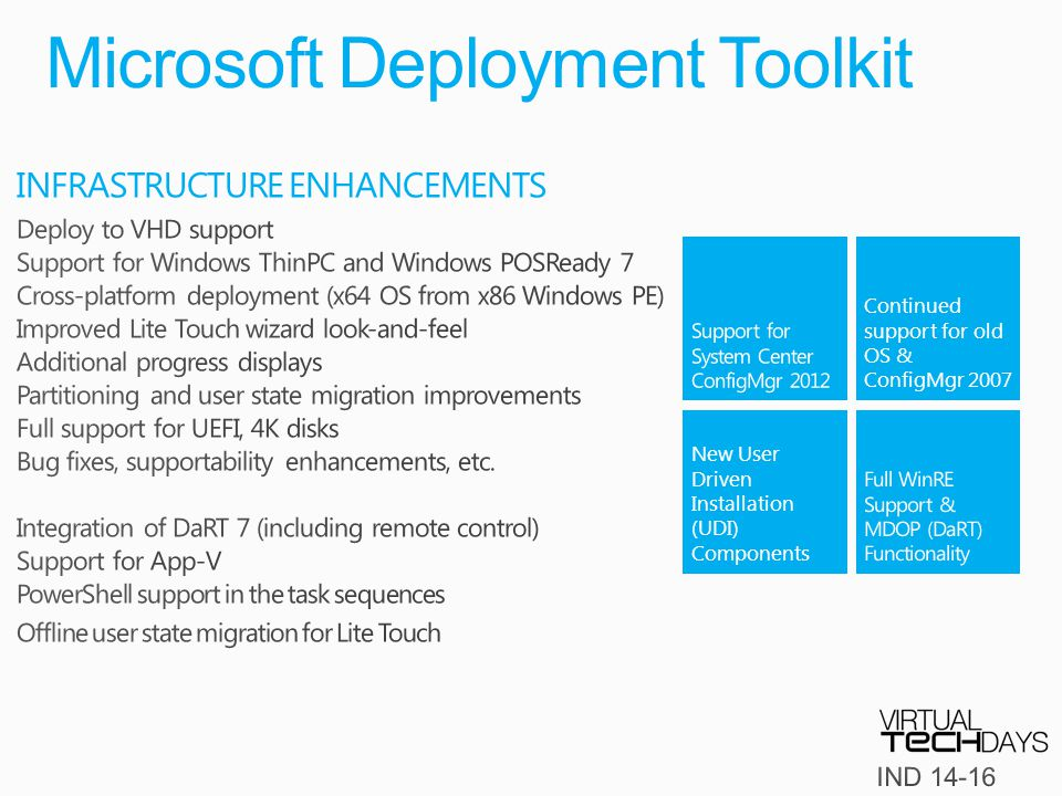 Microsoft Deployment Toolkit New User Driven Installation (UDI) Components Continued support for old OS & ConfigMgr 2007