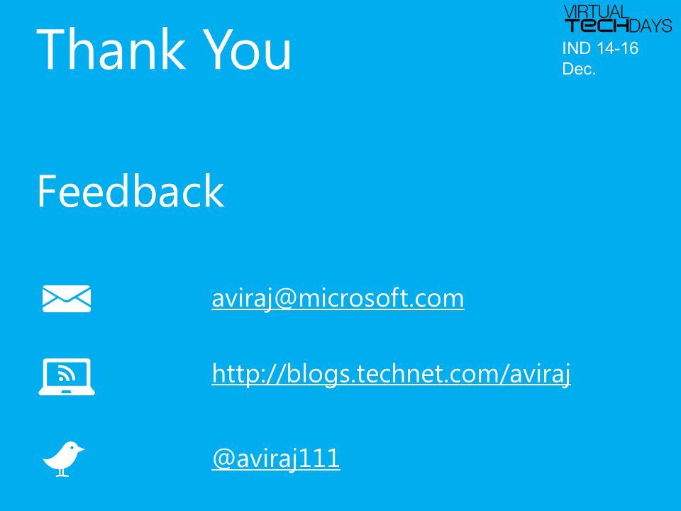 aviraj@microsoft.com http://blogs.technet.com/aviraj @aviraj111