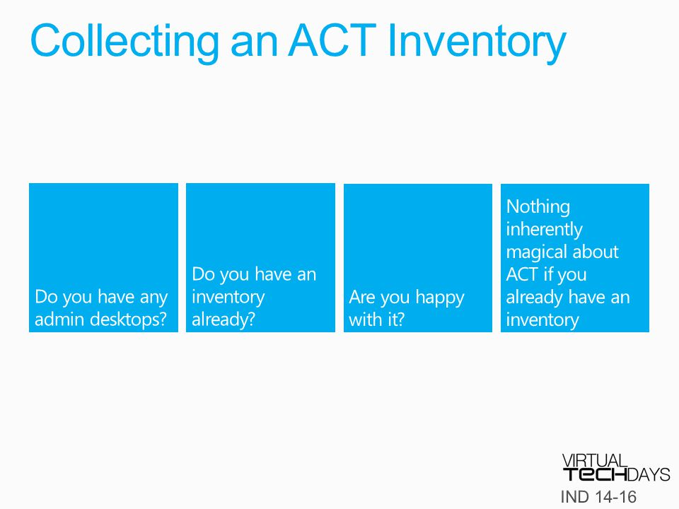 Collecting an ACT Inventory