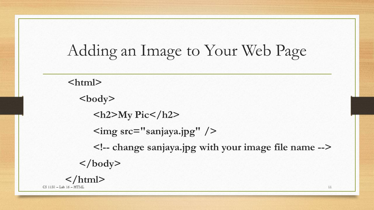 Adding an Image to Your Web Page 11CS 1150 – Lab 16 – HTML My Pic