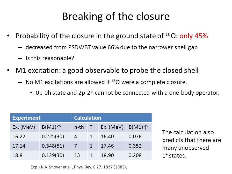 Breaking of the closure Probability of the closure in the ground state of 16 O: only 45% – decreased from PSDWBT value 66% due to the narrower shell gap – Is this reasonable.