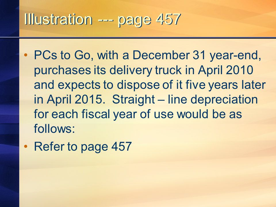 Illustration --- page 457 PCs to Go, with a December 31 year-end, purchases its delivery truck in April 2010 and expects to dispose of it five years l