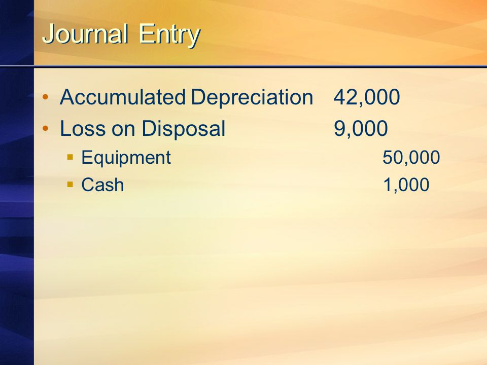 Journal Entry Accumulated Depreciation42,000 Loss on Disposal9,000  Equipment50,000  Cash1,000