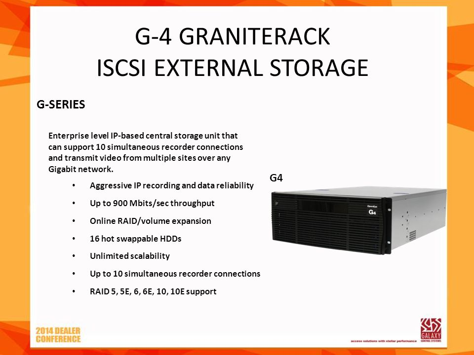G-4 GRANITERACK ISCSI EXTERNAL STORAGE Aggressive IP recording and data reliability Up to 900 Mbits/sec throughput Online RAID/volume expansion 16 hot