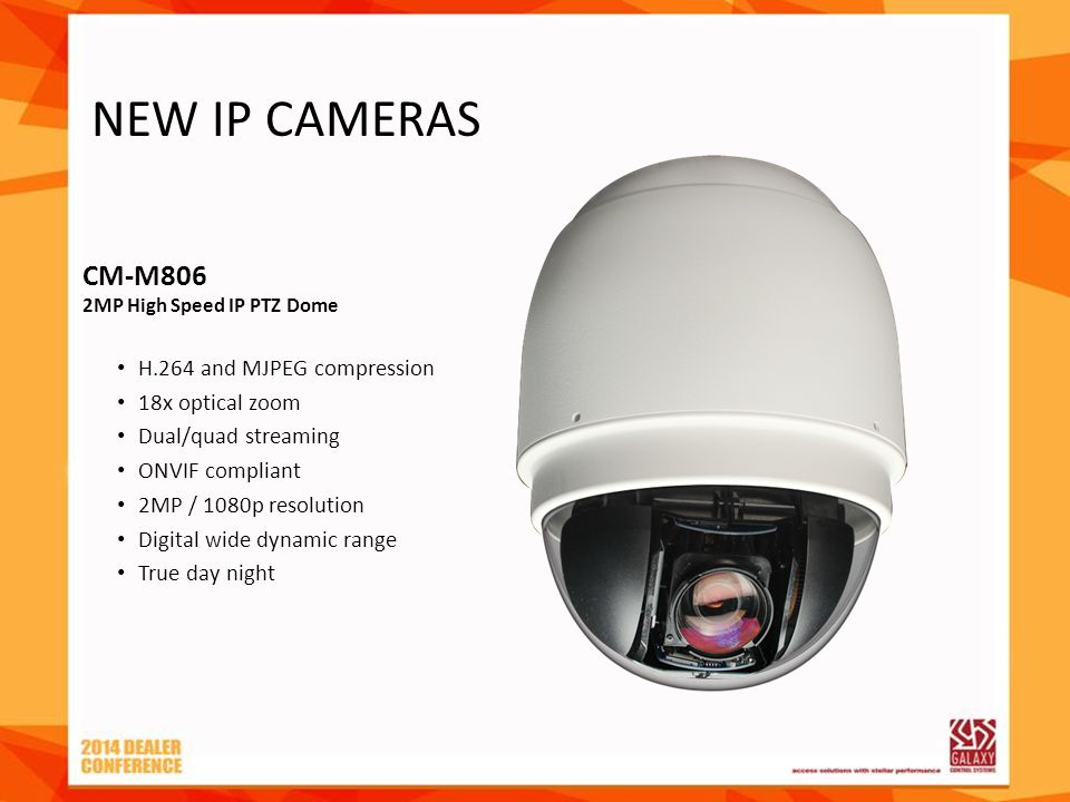 CM-M806 2MP High Speed IP PTZ Dome H.264 and MJPEG compression 18x optical zoom Dual/quad streaming ONVIF compliant 2MP / 1080p resolution Digital wid