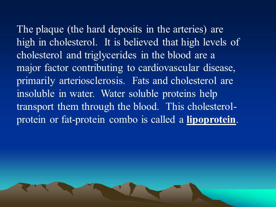 The plaque (the hard deposits in the arteries) are high in cholesterol.