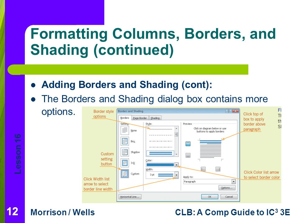 Lesson 16 Morrison / WellsCLB: A Comp Guide to IC 3 3E 12 Formatting Columns, Borders, and Shading (continued) Adding Borders and Shading (cont): The