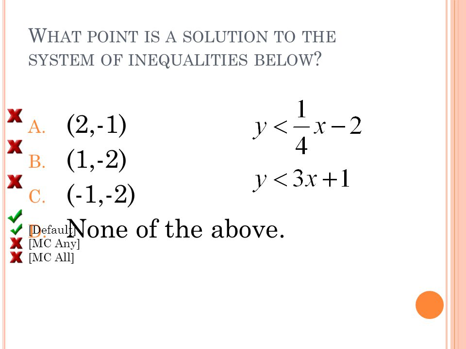 W HAT POINT IS A SOLUTION TO THE SYSTEM OF INEQUALITIES BELOW .