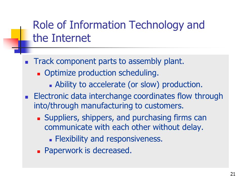 McGraw-Hill/Irwin © 2003 The McGraw-Hill Companies, Inc., All Rights Reserved. 16-21 21 Role of Information Technology and the Internet Track componen