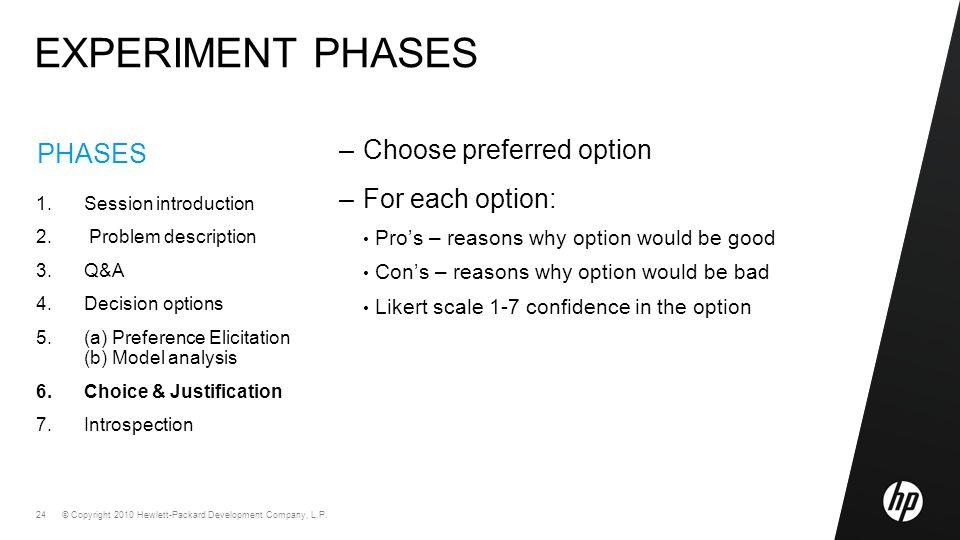 © Copyright 2010 Hewlett-Packard Development Company, L.P. 24 PHASES 1.Session introduction 2. Problem description 3.Q&A 4.Decision options 5.(a) Pref