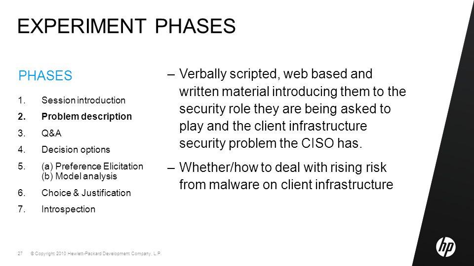 © Copyright 2010 Hewlett-Packard Development Company, L.P. 27 PHASES 1.Session introduction 2.Problem description 3.Q&A 4.Decision options 5.(a) Prefe