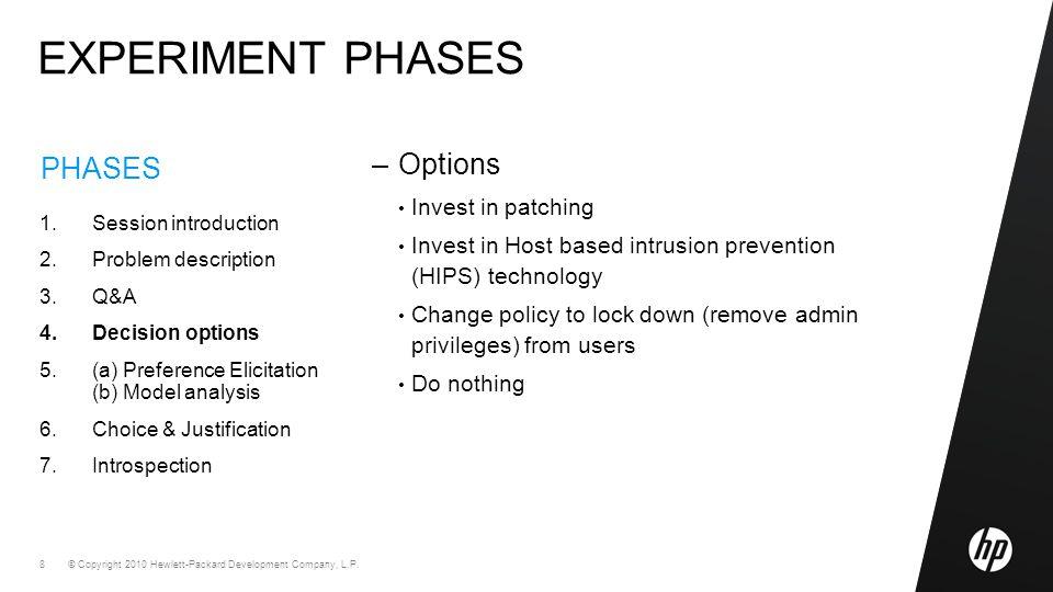 © Copyright 2010 Hewlett-Packard Development Company, L.P. 8 PHASES 1.Session introduction 2.Problem description 3.Q&A 4.Decision options 5.(a) Prefer