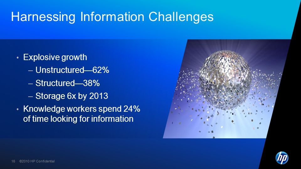 ©2010 HP Confidential16 ©2010 HP Confidential Harnessing Information Challenges Explosive growth –Unstructured—62% –Structured—38% –Storage 6x by 2013 Knowledge workers spend 24% of time looking for information