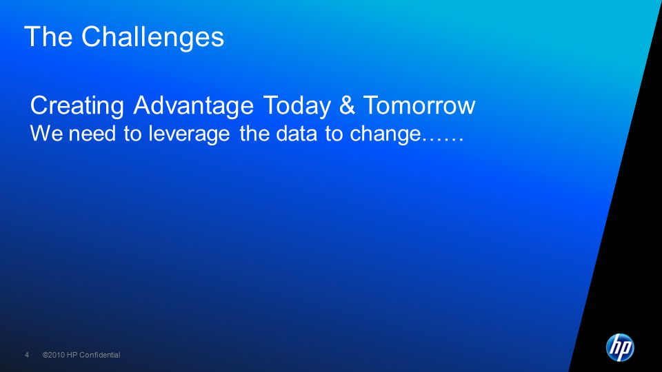 ©2010 HP Confidential44 The Challenges Creating Advantage Today & Tomorrow We need to leverage the data to change……