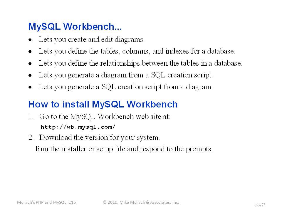 Murach s PHP and MySQL, C16© 2010, Mike Murach & Associates, Inc. Slide 27