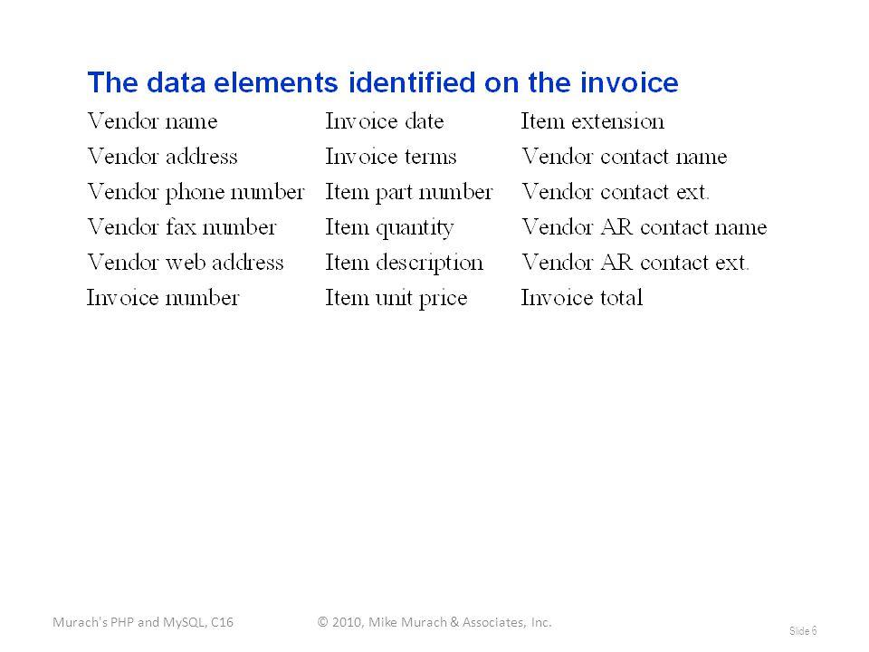 Murach s PHP and MySQL, C16© 2010, Mike Murach & Associates, Inc. Slide 6