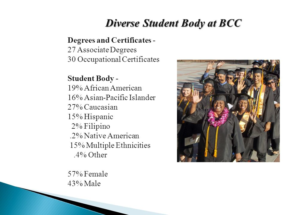 Diverse Student Body at BCC Degrees and Certificates - 27 Associate Degrees 30 Occupational Certificates Student Body - 19% African American 16% Asian-Pacific Islander 27% Caucasian 15% Hispanic 2% Filipino.2% Native American 15% Multiple Ethnicities.4% Other 57% Female 43% Male