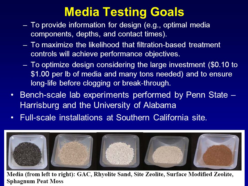 Media Testing Goals –To provide information for design (e.g., optimal media components, depths, and contact times).