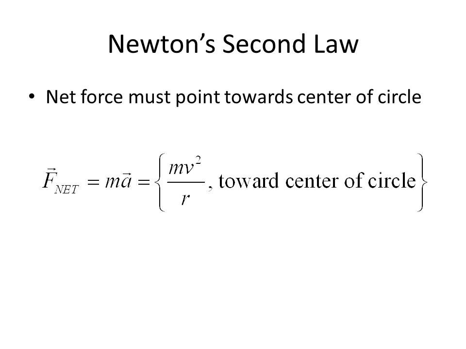 Newton's Second Law Net force must point towards center of circle