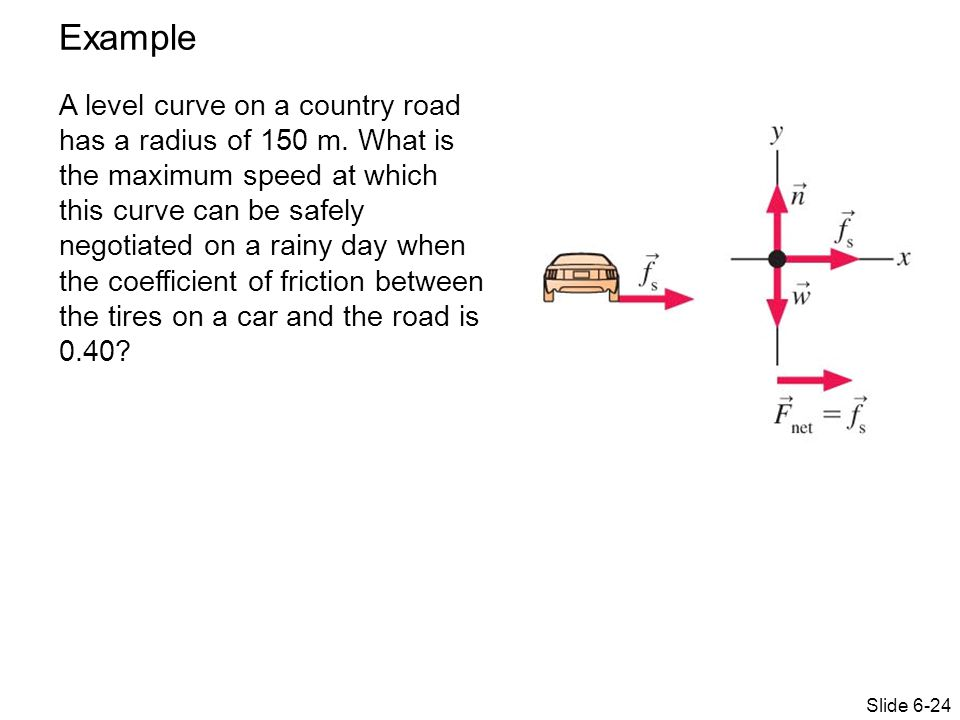 Example A level curve on a country road has a radius of 150 m.