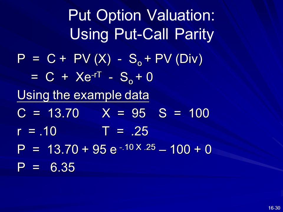 16-30 Put Option Valuation: Using Put-Call Parity P = C + PV (X) - S o + PV (Div) = C + Xe -rT - S o + 0 = C + Xe -rT - S o + 0 Using the example data C = 13.70X = 95S = 100 r =.10T =.25 P = 13.70 + 95 e -.10 X.25 – 100 + 0 P = 6.35
