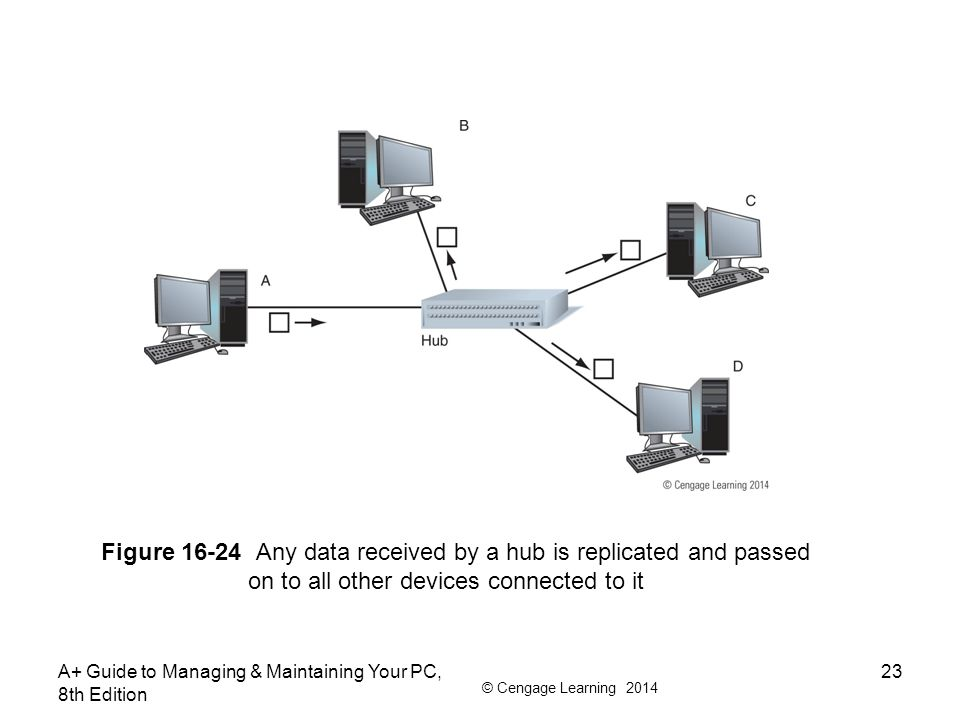 © Cengage Learning 2014 A+ Guide to Managing & Maintaining Your PC, 8th Edition 23 Figure 16-24 Any data received by a hub is replicated and passed on