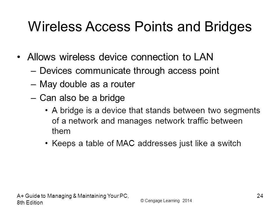 © Cengage Learning 2014 Wireless Access Points and Bridges Allows wireless device connection to LAN –Devices communicate through access point –May dou