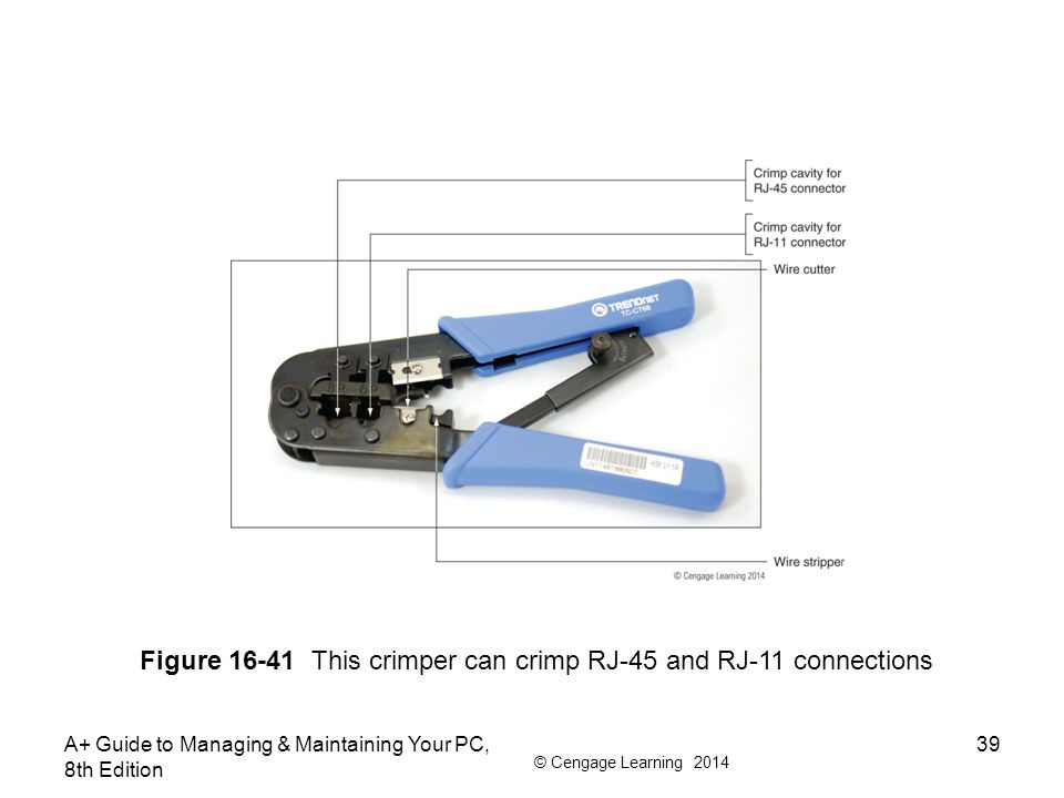 © Cengage Learning 2014 A+ Guide to Managing & Maintaining Your PC, 8th Edition 39 Figure 16-41 This crimper can crimp RJ-45 and RJ-11 connections