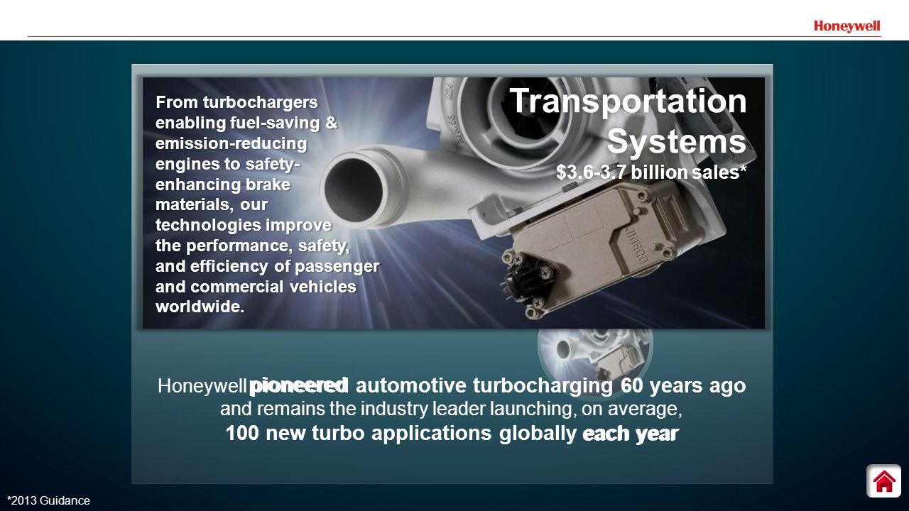 7 Honeywell pioneered automotive turbocharging 60 years ago and remains the industry leader launching, on average, 100 new turbo applications globally