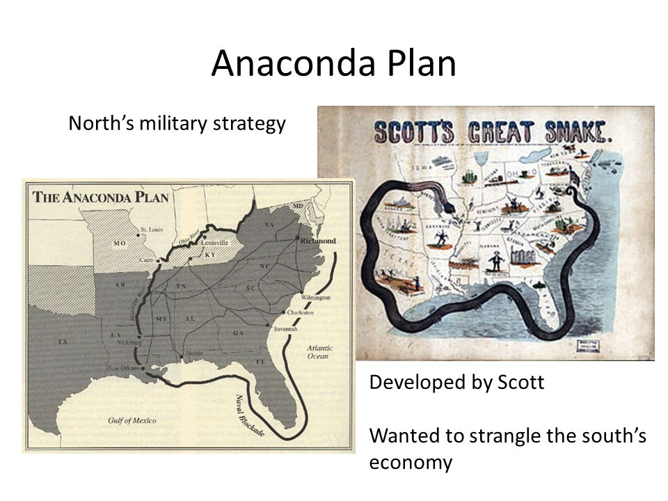 Anaconda Plan North's military strategy Developed by Scott Wanted to strangle the south's economy