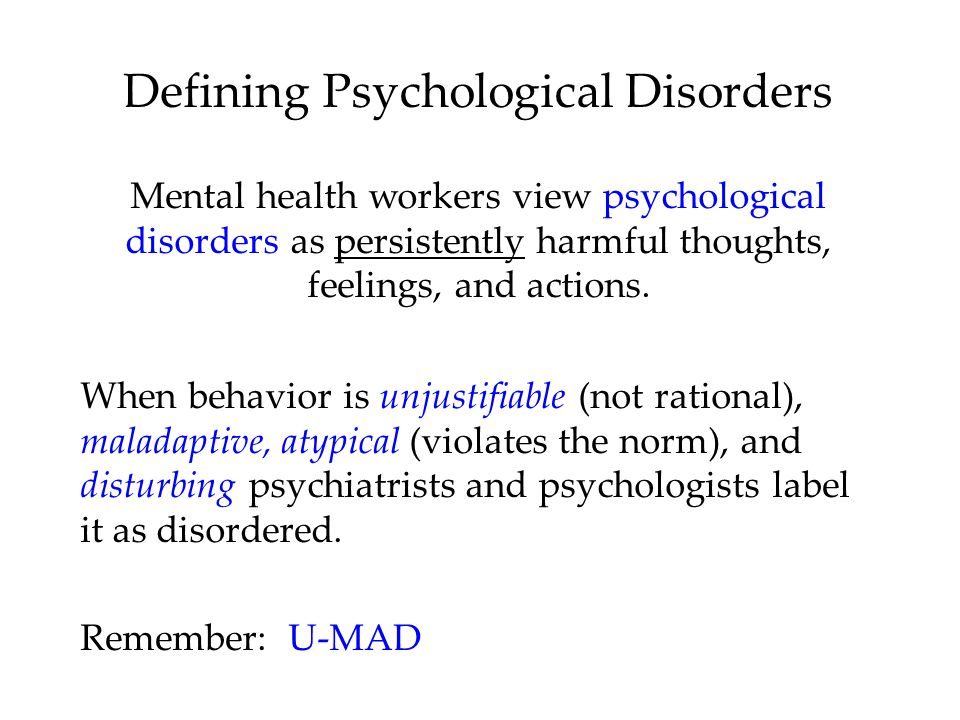 Part I: Psychological Disorders