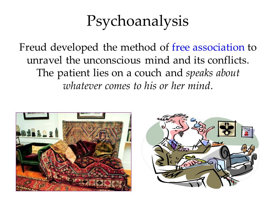 Psychoanalysis Since psychological problems originate from childhood repressed impulses and conflicts, the aim of psychoanalysis is to bring repressed feelings into conscious awareness where the patient can deal with them.