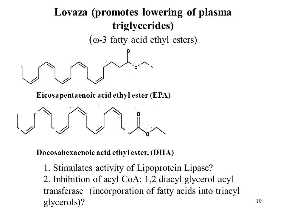 Lovaza (promotes lowering of plasma triglycerides) ( ω-3 fatty acid ethyl esters) Eicosapentaenoic acid ethyl ester (EPA) Docosahexaenoic acid ethyl ester, (DHA) 1.