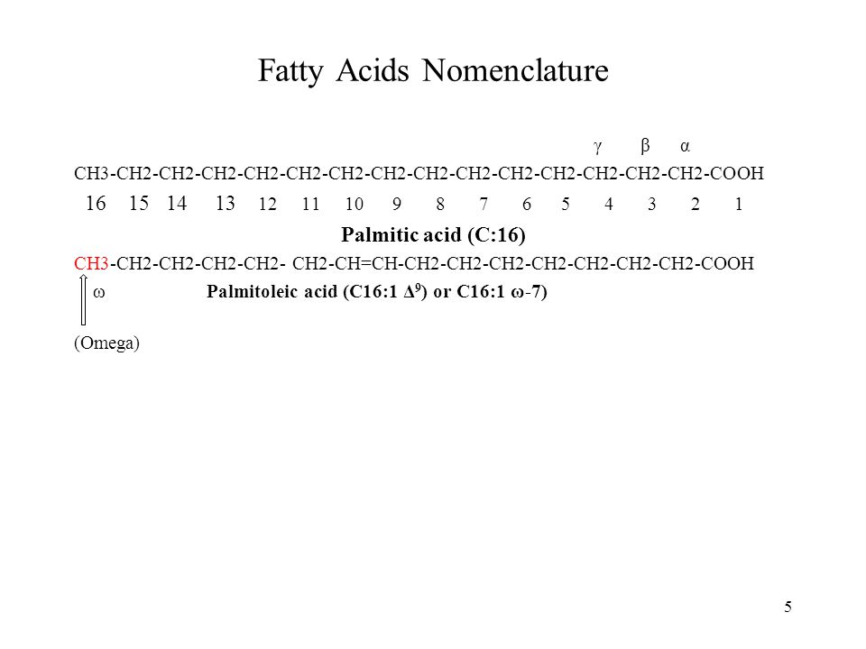 Fatty Acids Nomenclature γ βα CH3-CH2-CH2-CH2-CH2-CH2-CH2-CH2-CH2-CH2-CH2-CH2-CH2-CH2-CH2-COOH 16 15 14 13 12 11 10 9 8 7 6 5 4 3 2 1 Palmitic acid (C:16) CH3-CH2-CH2-CH2-CH2- CH2-CH=CH-CH2-CH2-CH2-CH2-CH2-CH2-CH2-COOH ω Palmitoleic acid (C16:1 Δ 9 ) or C16:1 ω-7) (Omega) 5