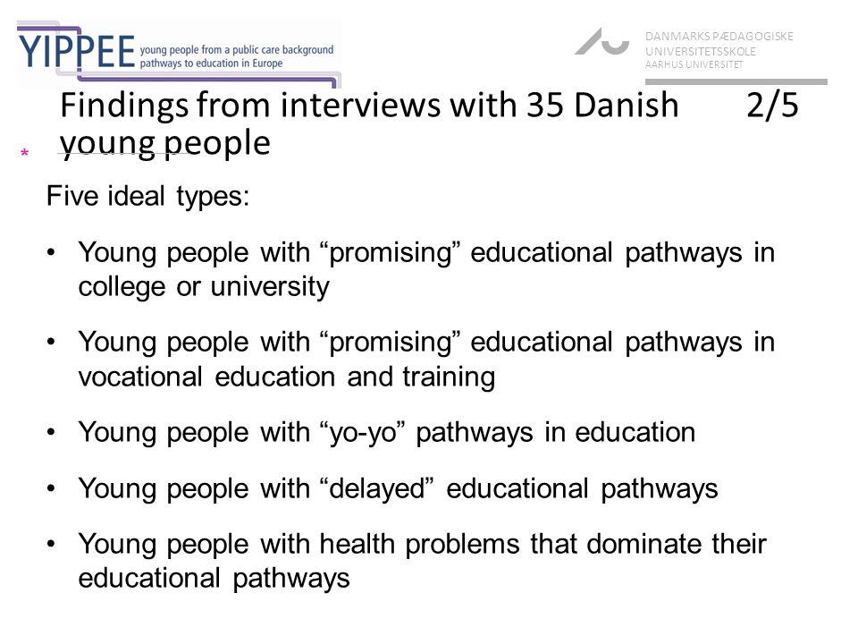 Findings from interviews with 35 Danish 2/5 young people * DANMARKS PÆDAGOGISKE UNIVERSITETSSKOLE AARHUS UNIVERSITET Five ideal types: Young people with promising educational pathways in college or university Young people with promising educational pathways in vocational education and training Young people with yo-yo pathways in education Young people with delayed educational pathways Young people with health problems that dominate their educational pathways