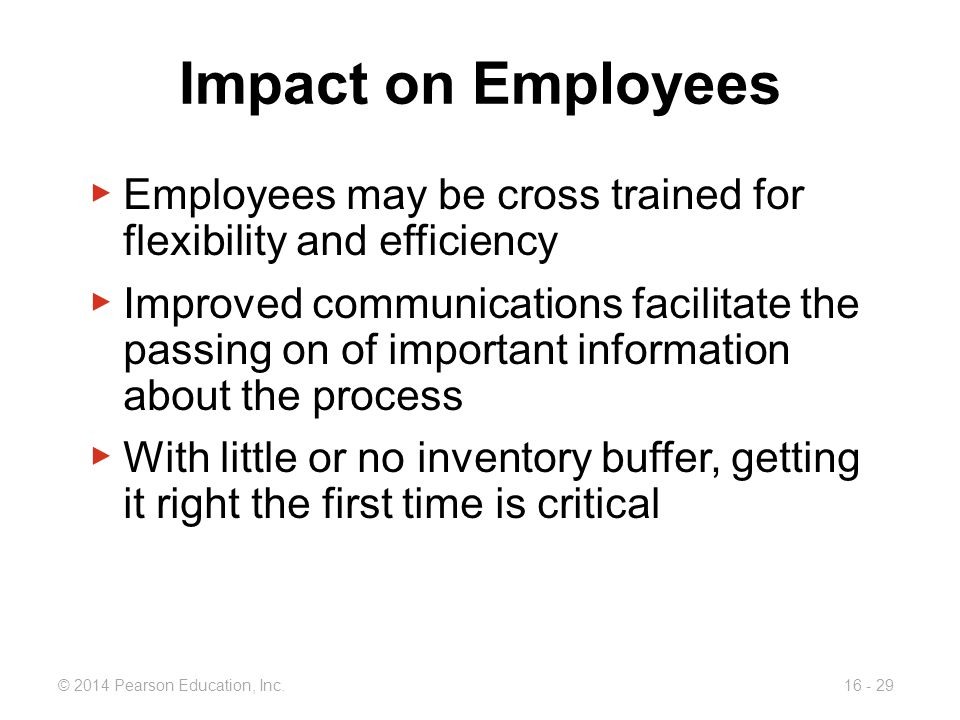 © 2014 Pearson Education, Inc.16 - 29 Impact on Employees ▶ Employees may be cross trained for flexibility and efficiency ▶ Improved communications fa