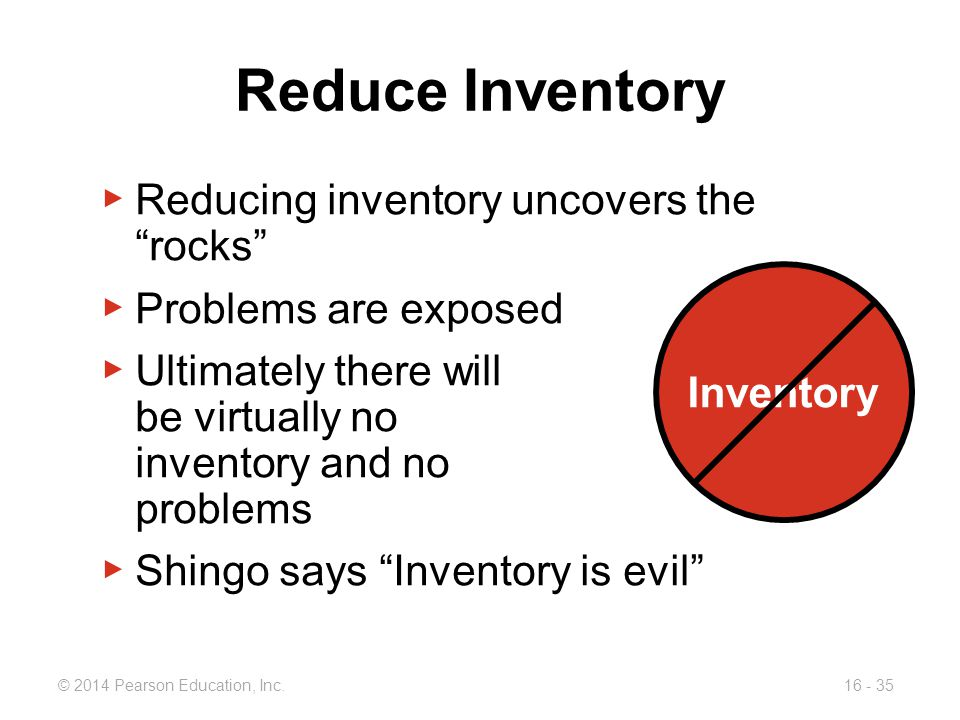 """© 2014 Pearson Education, Inc.16 - 35 Reduce Inventory ▶ Reducing inventory uncovers the """"rocks"""" ▶ Problems are exposed ▶ Ultimately there will be vir"""