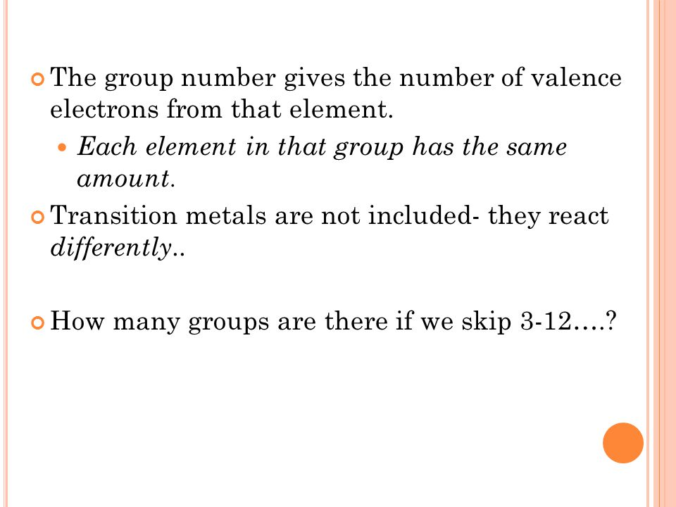 The group number gives the number of valence electrons from that element. Each element in that group has the same amount. Transition metals are not in